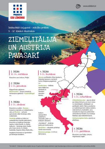 Izzinošais ceļojums – mācību prakse Ziemeļitālija un Austrija pavasarī! PIESAKIES!