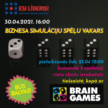 Biznesa simulāciju spēļu vakars kopā ar Brain Games